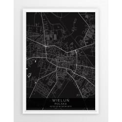 Mapa plakat WIELUŃ - linia BLACK