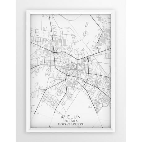 Mapa plakat WIELUŃ - linia WHITE