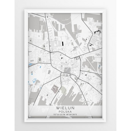 Mapa plakat WIELUŃ - linia BLUE/GRAY