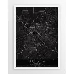 Mapa plakat BEŁCHATÓW - linia BLACK