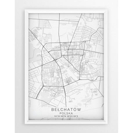 Mapa plakat BEŁCHATÓW - linia WHITE