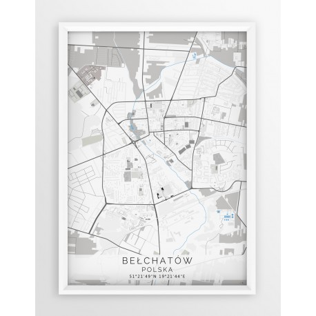 Mapa plakat BEŁCHATÓW - linia BLUE/GRAY