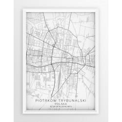 Mapa plakat PIOTRKÓW TRYB. - linia WHITE