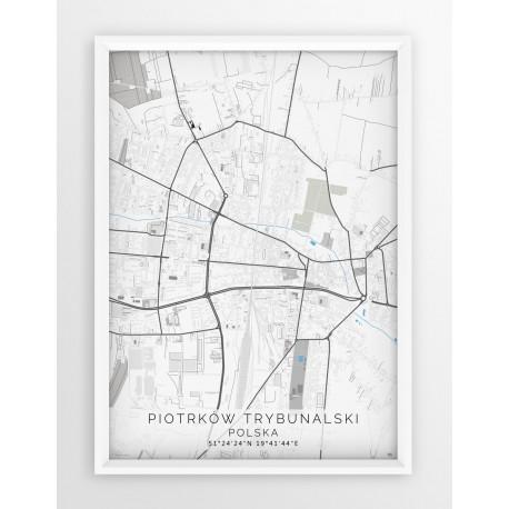 Mapa plakat PIOTRKÓW TRYB. - linia BLUE/GRAY