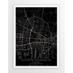 Mapa plakat PIOTRKÓW TRYB. - linia BLACK