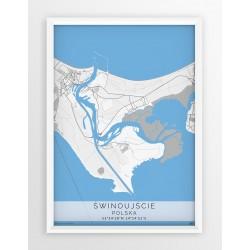 Mapa plakat ŚWINOUJŚCIE - linia BLUE/GRAY