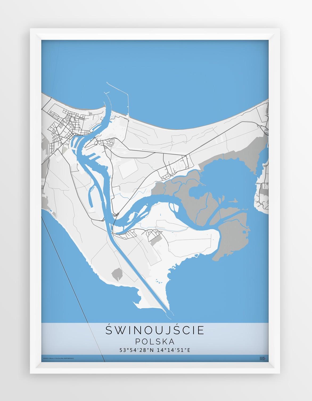 Plakat Mapa Swinoujscie Seria Gray Blue