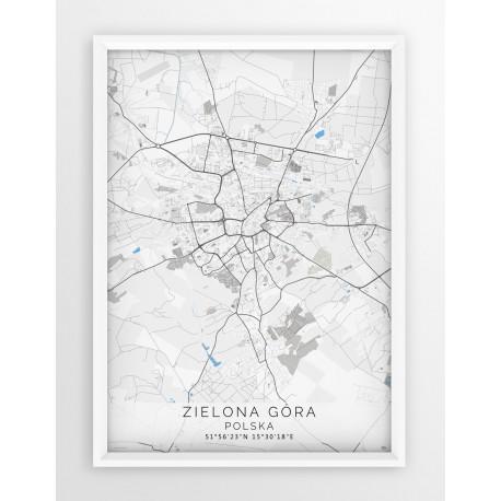 Mapa plakat ZIELONA GÓRA - linia BLUE/GRAY