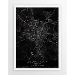 Mapa plakat ZIELONA GÓRA - linia BLACK