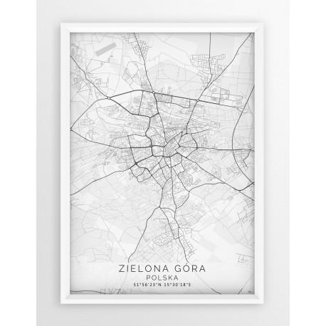 Mapa plakat ZIELONA GÓRA - linia WHITE