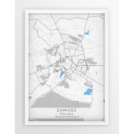 Mapa plakat ZAMOŚĆ - linia BLUE/GRAY