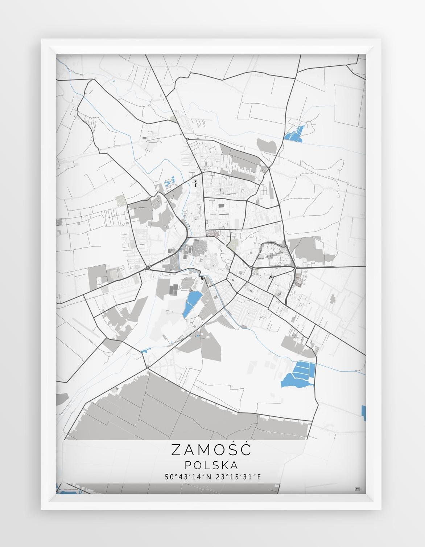Plakat Mapa Zamosc Seria Gray Blue