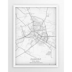 Mapa plakat ZAMOŚĆ - linia WHITE