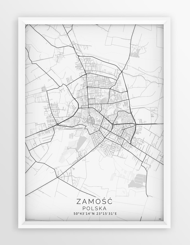 Plakat Mapa Zamosc Seria White