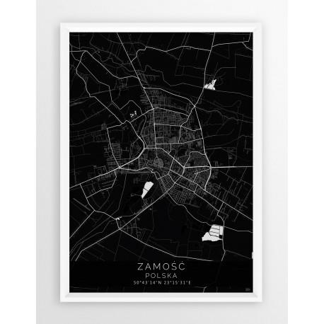 Mapa plakat ZAMOŚĆ - linia BLACK