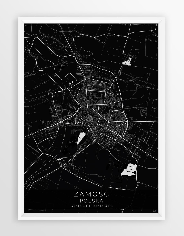 Plakat Mapa Zamosc Seria Black