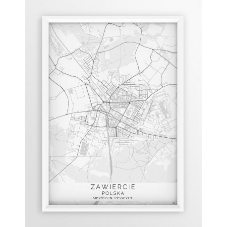 Mapa plakat ZAWIERCIE - linia WHITE