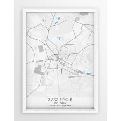 Mapa plakat ZAWIERCIE - linia BLUE/GRAY
