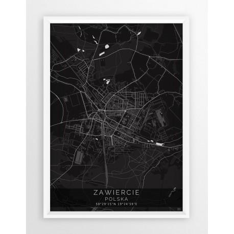 Mapa plakat ZAWIERCIE - linia BLACK