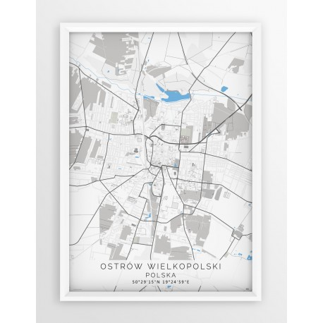 Mapa plakat OSTRÓW WLKP. - linia BLUE/GRAY