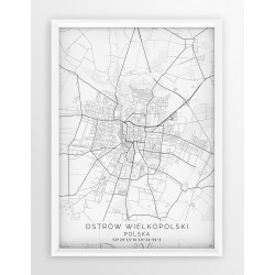Mapa plakat OSTRÓW WLKP. - linia WHITE