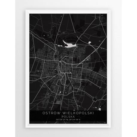 Mapa plakat OSTRÓW WLKP. - linia BLACK
