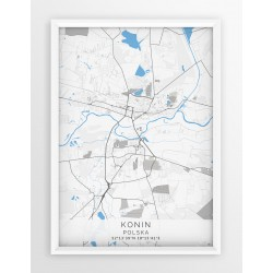 Mapa plakat KONIN - linia BLUE/GRAY