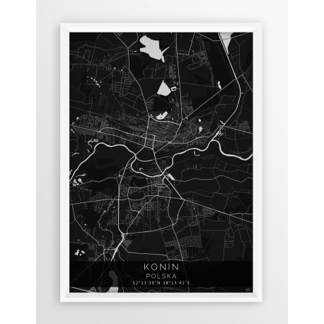 Mapa plakat KONIN - linia BLACK