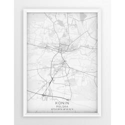 Mapa plakat KONIN - linia WHITE