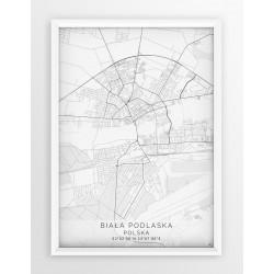 Mapa plakat BIAŁA PODLASKA- linia WHITE