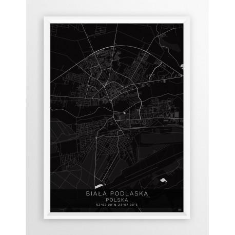 Mapa plakat BIAŁA PODLASKA - linia BLACK