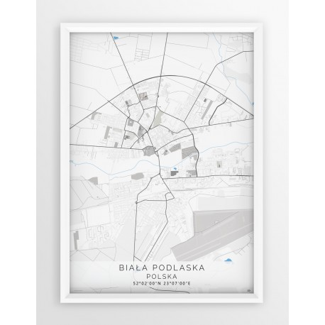 Mapa plakat BIAŁA PODLASKA - linia BLUE/GRAY