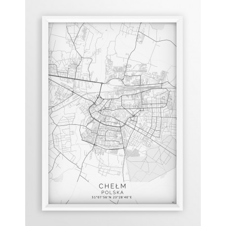 Mapa plakat CHEŁM - linia WHITE