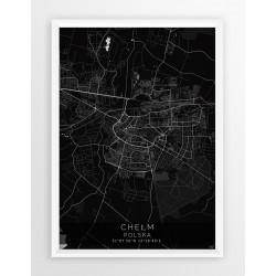 Mapa plakat CHEŁM - linia BLACK