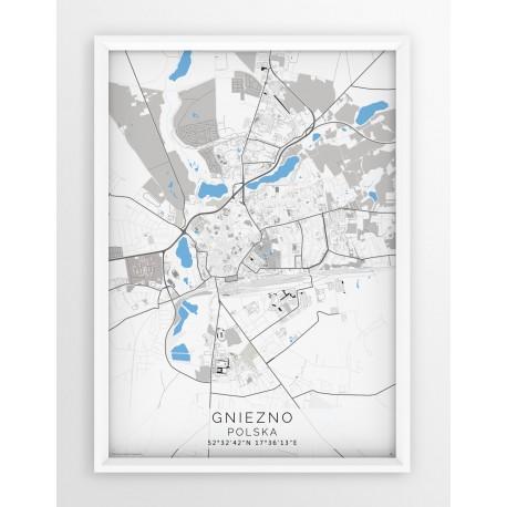Mapa plakat GNIEZNO - linia BLUE/GRAY