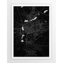 Mapa plakat GNIEZNO - linia BLACK