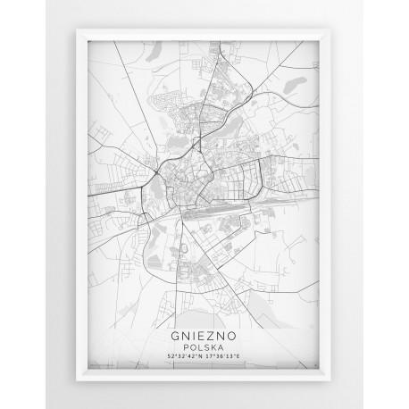 Mapa plakat GNIEZNO - linia WHITE