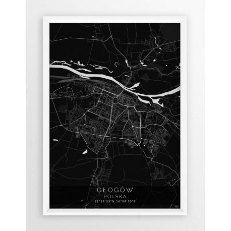 Mapa plakat GŁOGÓW - linia BLACK