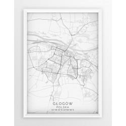Mapa plakat GŁOGÓW - linia WHITE