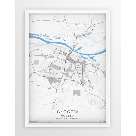 Mapa plakat GŁOGÓW - linia BLUE/GRAY