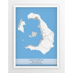 Mapa plakat SANTORINI - linia BLUE/GRAY