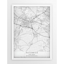 Mapa plakat KATOWICE - linia WHITE