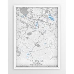 Mapa plakat KATOWICE - linia BLUE/GRAY