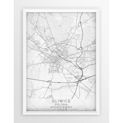 Mapa plakat GLIWICE - linia WHITE