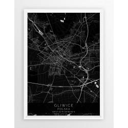 Mapa plakat GLIWICE - linia BLACK