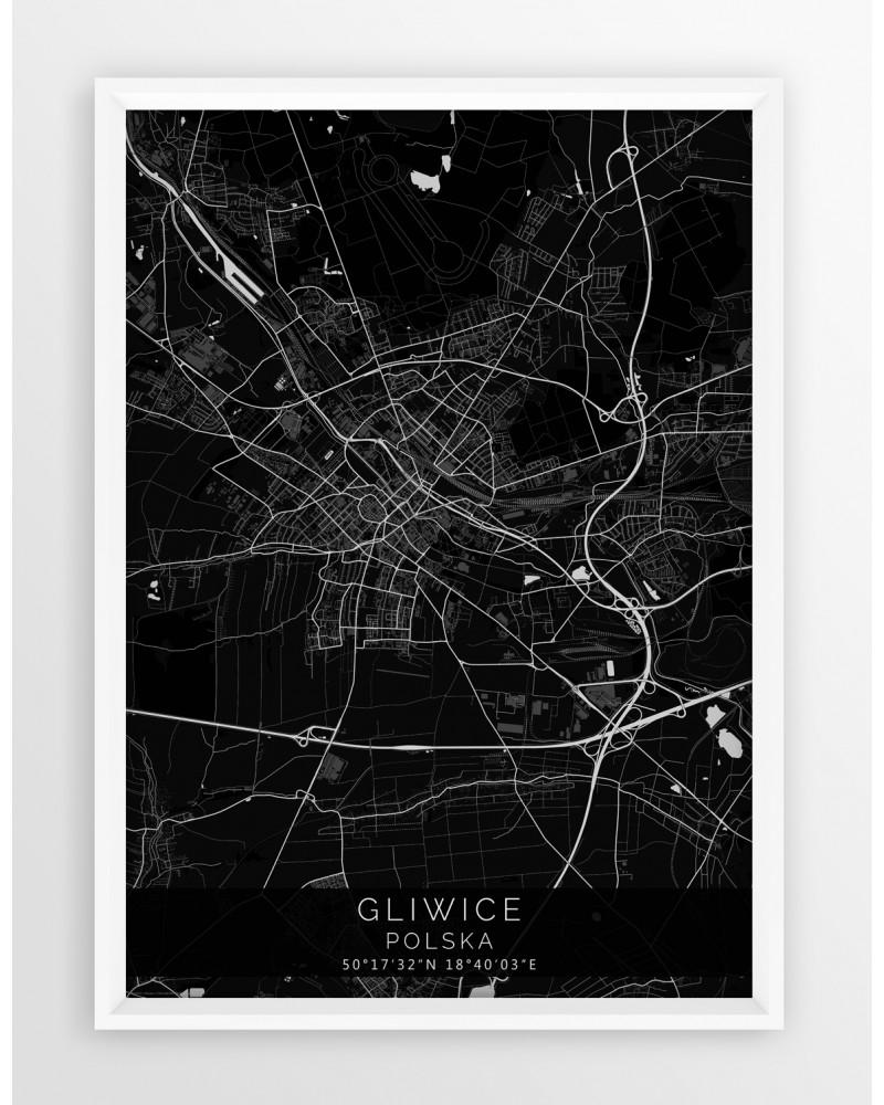 mapa plakat gliwice linia black