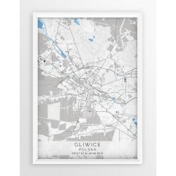 Mapa plakat GLIWICE - linia BLUE/GRAY
