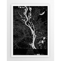 Mapa plakat KIJÓW - linia BLACK