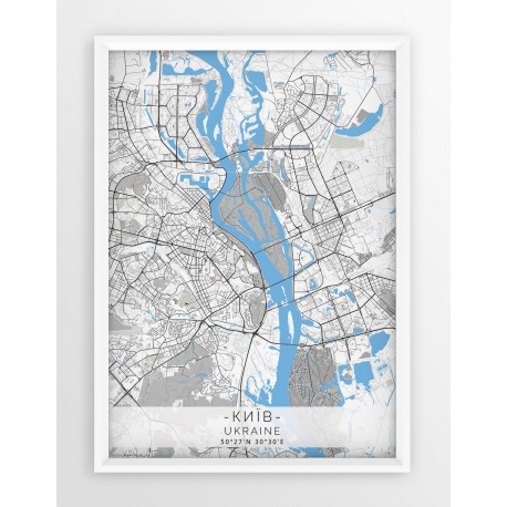 Mapa plakat KIJÓW- linia BLUE/GRAY