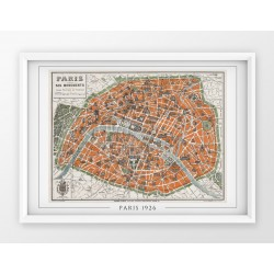 Stara mapa/plan PARYŻ (1926r) - reprint